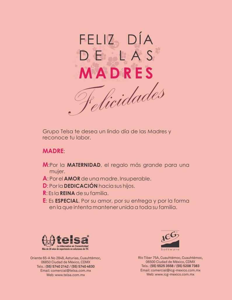Telsa Mayorista | FELIZ DÍA DE LAS MADRES | Grupo Telsa te desea un lindo día de las Madres y reconoce tu labor