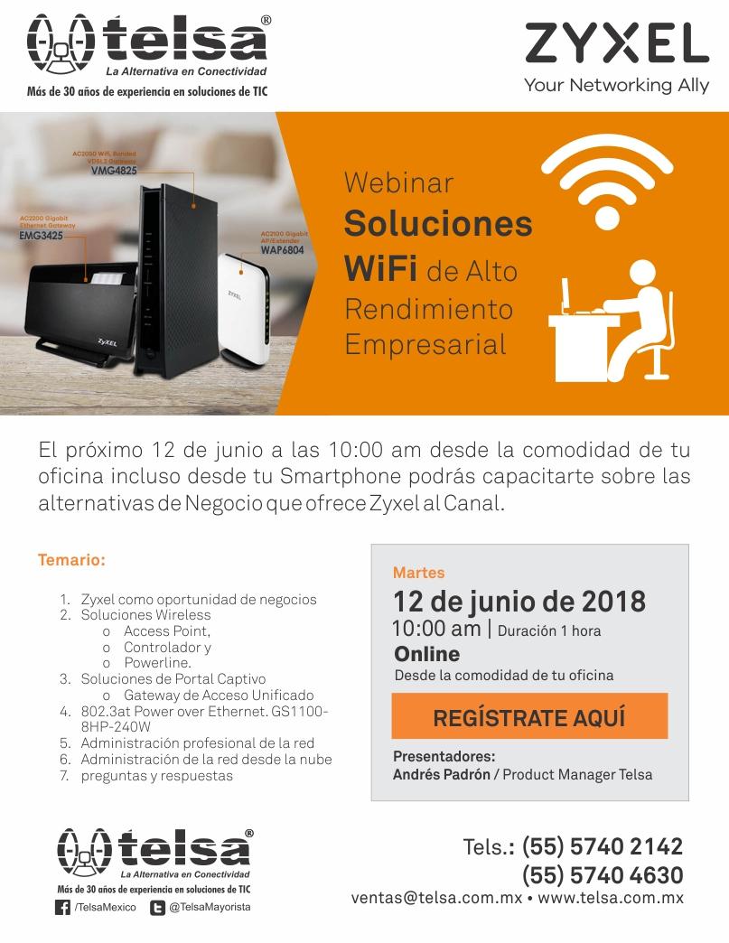 Webinar en soluciones WiFi de alto rendimiento empresarial con Zyxel, ¡Regístrate!