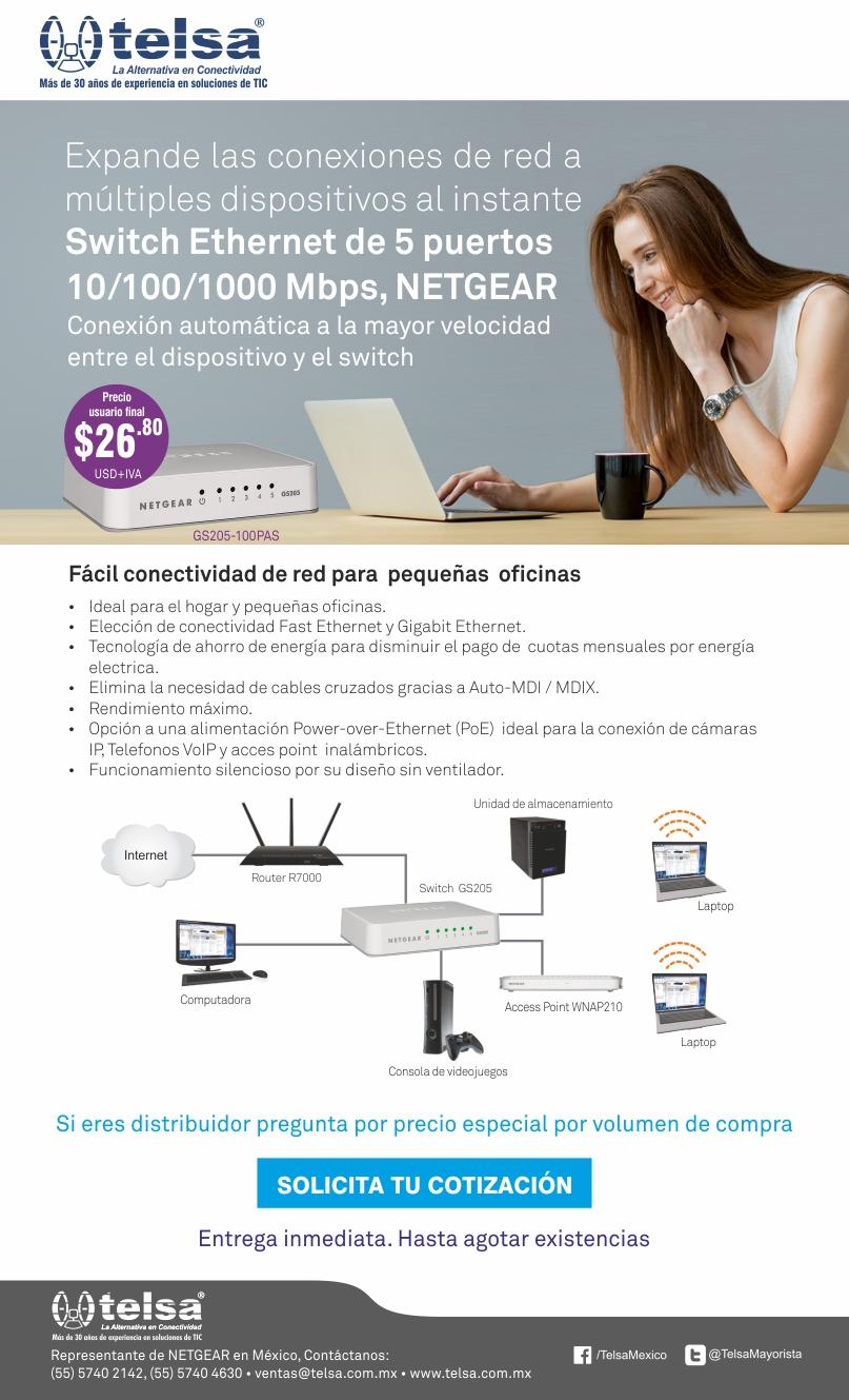 NETGEAR GS205-100PAS Switch ethernet de 5 puertos GbE, ¡Cotiza ahora!