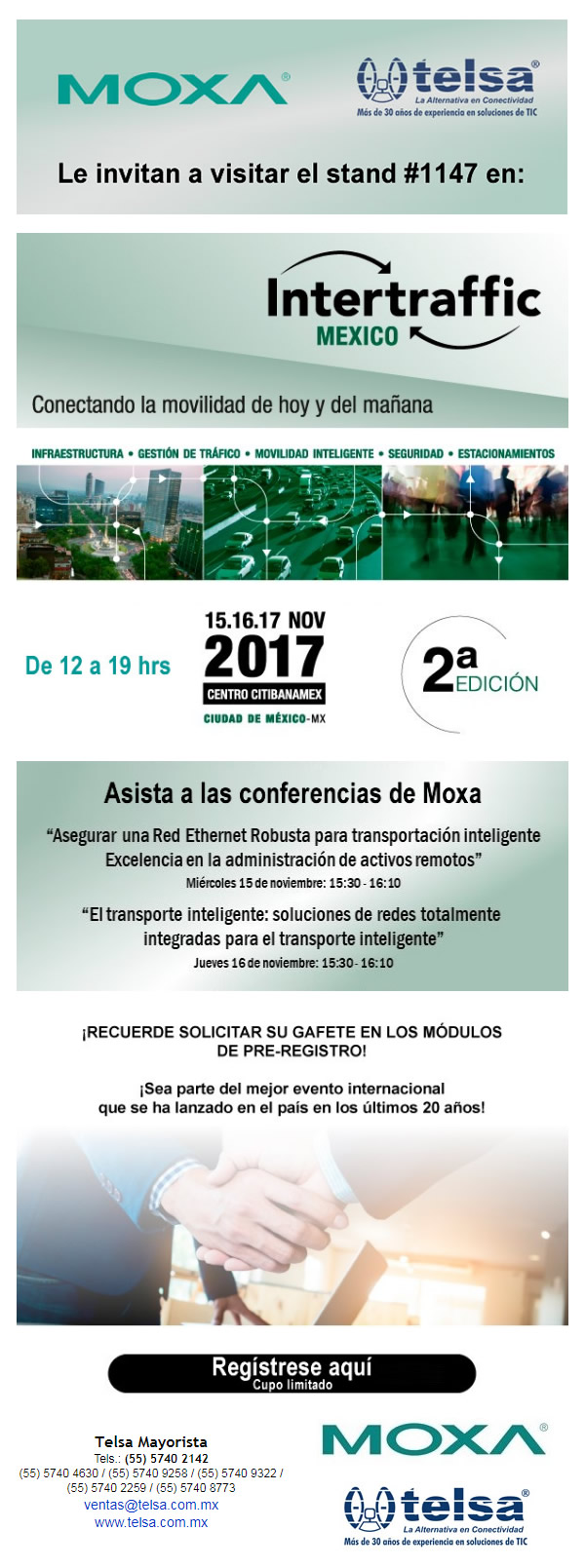 MOXA-TELSA Le invitan a Intertraffic 2017, ¡Regístrese ya!
