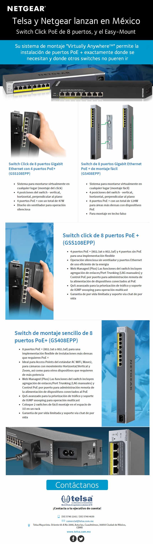 Telsa Mayorista | NETGEAR | Telsa y Netgear lanzan en México Switch Click PoE de 8 puertos, y el Easy-Mount