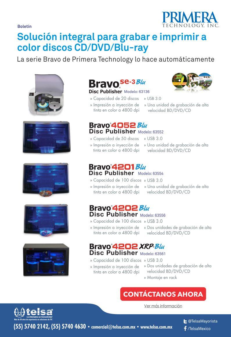 Solución integral para grabar e imprimir a color discos CD/DVD/Blu-ray. La serie Bravo de Primera Technology lo hace automáticamente