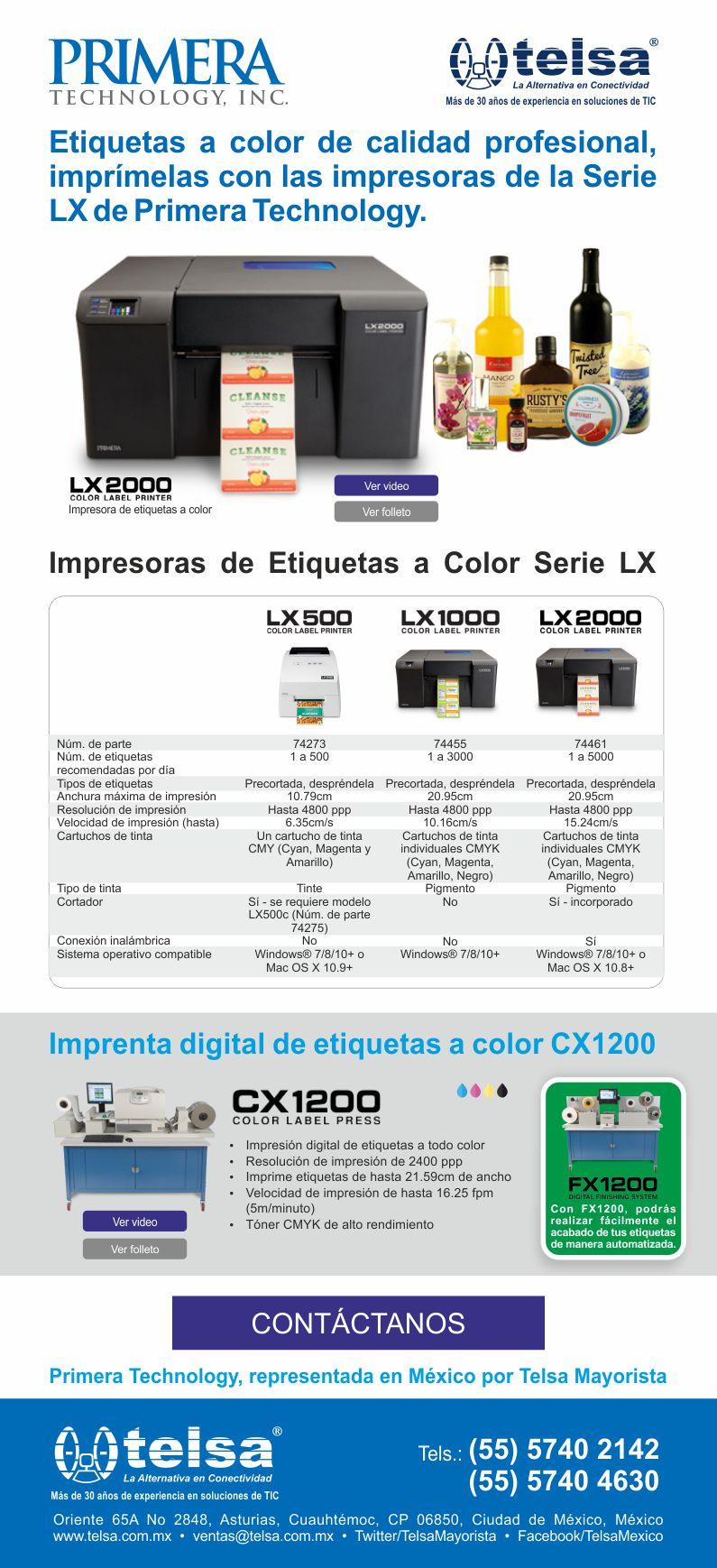 Etiquetas a color de calidad profesional, imprímelas con las impresoras de la Serie LX de Primera Technology