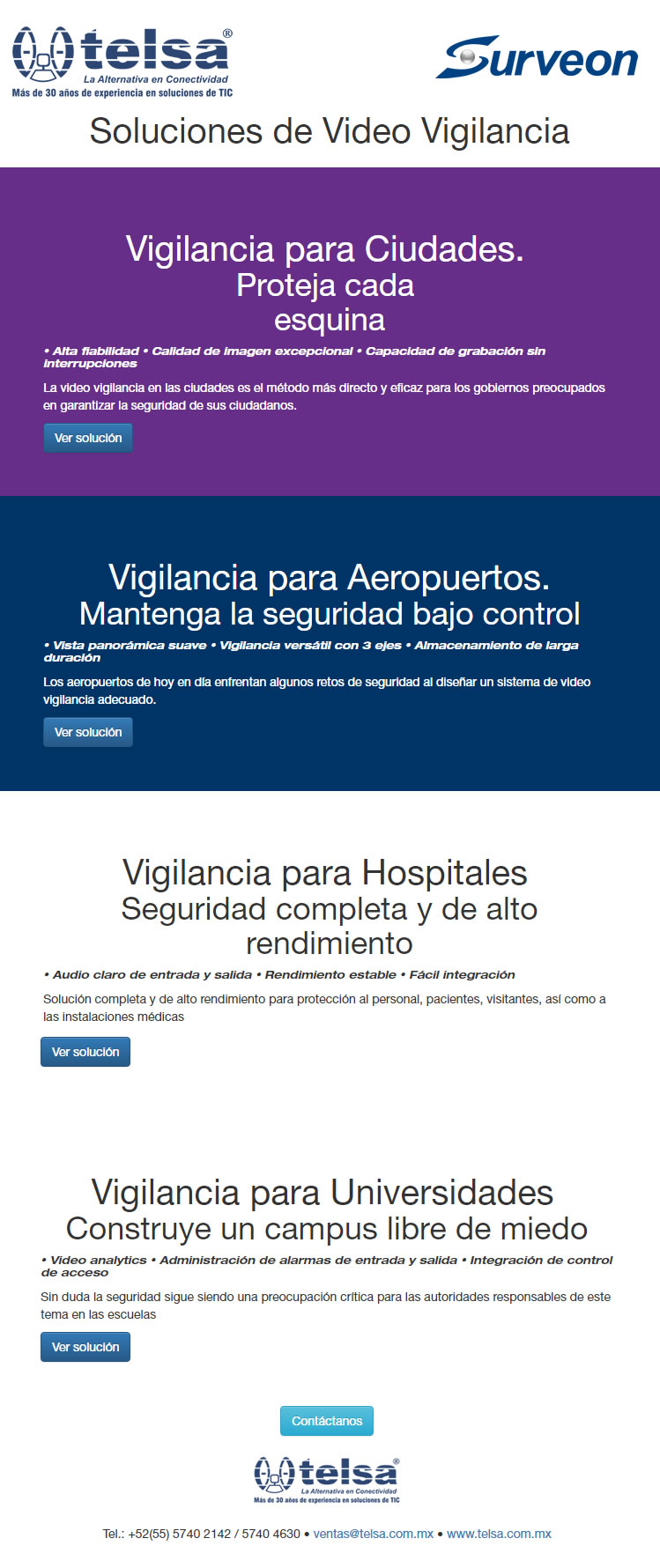 SURVEON: Soluciones de Video Vigilancia, ¡Contáctanos!