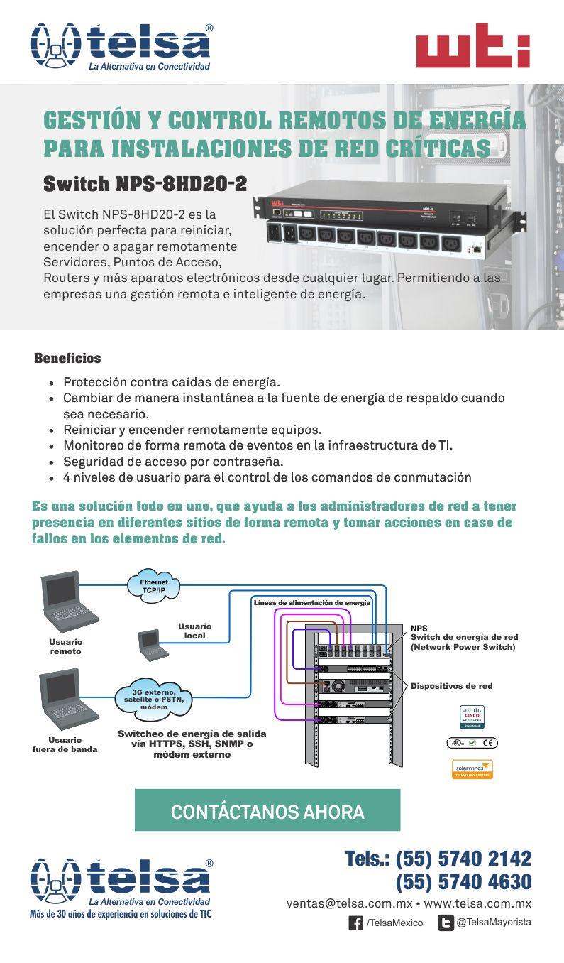 Switch NPS-8HD20-2 para Gestión y Control Remotos de Energía para Instalaciones de Red Críticas