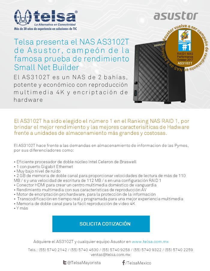 Telsa presenta el NAS AS3102T, campeón de la famosa prueba de rendimiento Small Net Builder