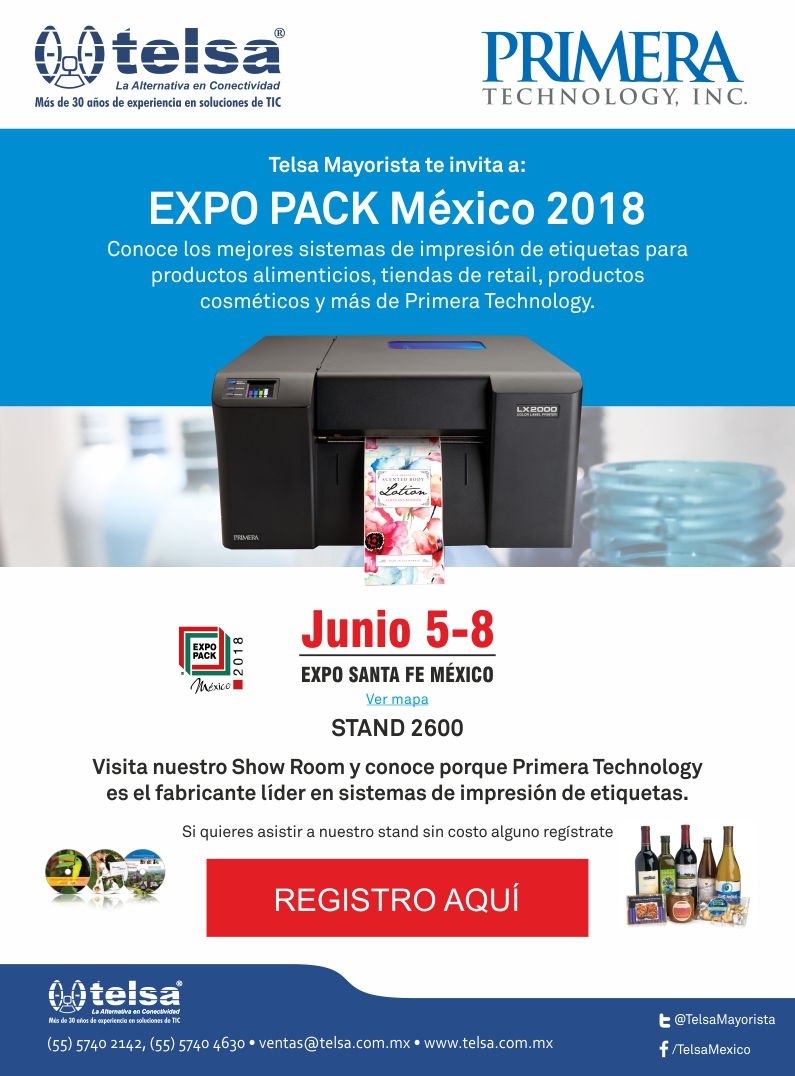Telsa invita a Expo Pack México 2018, ¡Regístrate!