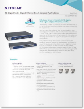 >Netgear XS512EM/XS724EM 10-Gigabit/Multi-Gigabit Ethernet Smart Managed Plus Switches