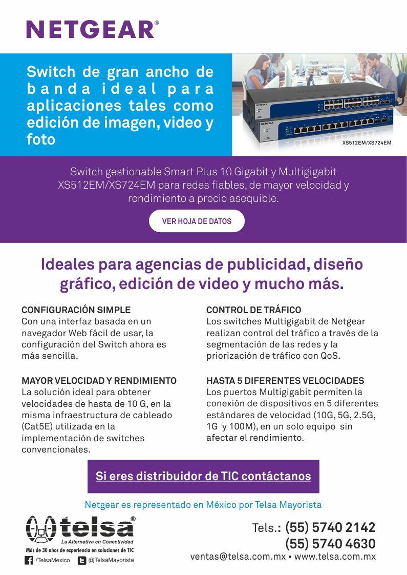 Switch de gran ancho de banda ideal para aplicaciones como edición de imagen, video y foto